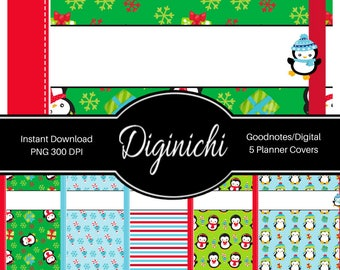 Penguins 02 - Digital Covers for Goodnotes Digital Planners and Journals - PNG & Printable