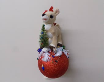 Clarise atop a 6 Inch Shatterproof Ornament Ball