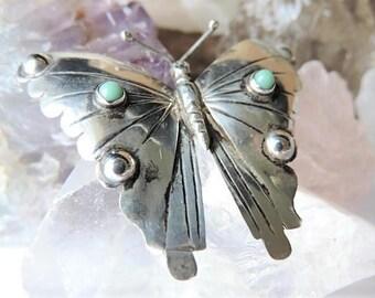 Turquoise Butterfly Brooch Sterling Silver/Southwestern Style Brooch