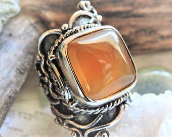 Carnelian Gemstone Sterling Silver Ring Size 8.25