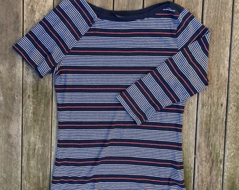 Vintage 90's Tommy Hilfiger Striped Women's Large Long Sleeve T-shirt Retro Hip Hop Streetwear Tommy Hilfiger Jeans USA Preppy Striped Top