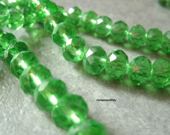 (PF812) Set of 20 effect 8mm Apple green Crystal faceted glass beads