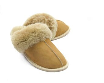 Women's Classic Sheepskin Slippers! 100% leather fur! mule, house shoe