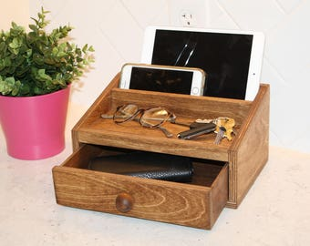 Docking Station – Charging Station – Light Walnut Stain
