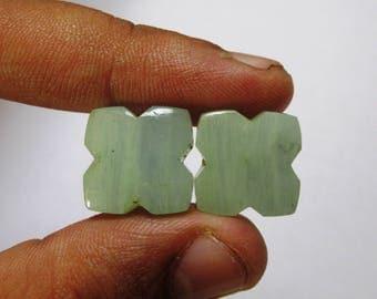 Natural Aquamarine Cabochon Butterfly shape, Aquamarine loose gemstone, Aquamarine Carving, Aquamarine Pair  size 15 x 6 mm ET 1360