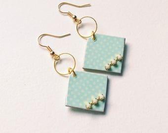 Earrings pastel earrings, wedding earrings Scandinavian, Rhinestones, scandinavian earrings, wedding earrings