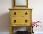 Painted Dressing Table Yellow Dressing Table Oak Vintage Furniture Shabby Chic Furniture Annie Sloan Vintage Dressing Table Petite