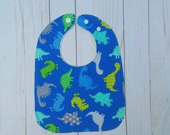 Baby Boy Bibs- dinosaur bib, bibs for boys, adjustable baby bibs, baby shower gift for boys, modern baby, plastic snap bibs, accessories