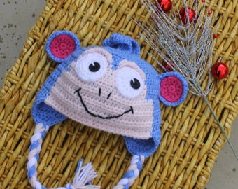 Boots the MONKEY crochet hat, Dora the Explorer BOOTS the Monkey hat, Kids Crochet monkey hat, Adult Monkey hat