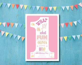 Pink Oh What Joy First Birthday Party DIY Printable Childs Invitation