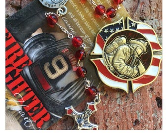 Fire fighter rosary & coin