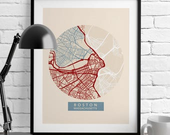 Boston Map - US Map Decor - Map Prints - Massachusetts - Minimalist Poster - Romantic Wall Art - City Maps - Nursery Decor - Wall Decor