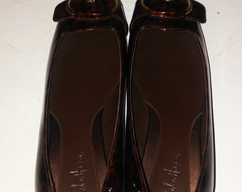 COLE HAAN Tortoise Air Genie Patent Leather Ballet Flat Shoes - Size 7 B