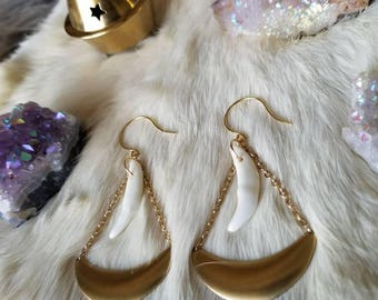 The Huntress Golden Crescent Coyote Teeth Earrings