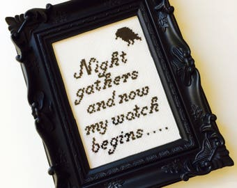 Game Of Thrones | Knights Watch | Nights Watch | Jon Snow | Winter Is Coming | Crow | Framed | Cross Stitch | Completed | Home | Gift