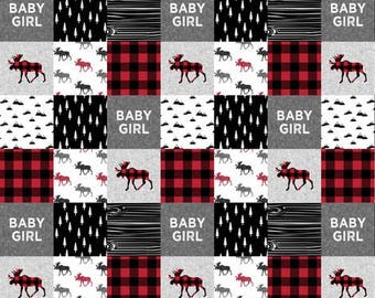 Baby girl red buffalo quilt, minky quilt, woodland nursery, girlnursery, adventure, modern nursery, toddler quilt