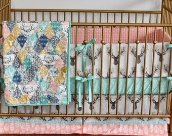 Oh Deer Crib bedding,quilt, modern bedding, crib bedding, fawn, stag, deer, going stag, baby girl, modern nursery