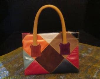 Vintage Patchwork Handbag! What's Leather, Vinyl, & Suede? This Colorful Handbag!