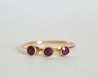 14k Three Stone Ruby Ring, 14k Gold Ruby Ring, Natural Ruby Ring 14k Gold, Genuine Ruby Gold Ring, Gold Ruby Ring, Three Stone Ring
