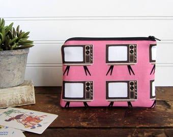Pink Retro TV's Novelty Coin Purse, Zipper Bag, Medicine Bag, Pacifier Bag, Small Make Up Bag, Zipper Bag Storage, Fabric Wallet