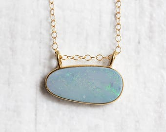 Australian Opal Doublet Necklace - Gold Vermeil - Gold Filled