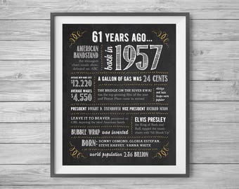 61st Birthday or Anniversary Chalk Sign, Printable 8x10 and 16x20, Party Supplies, 61 Years Ago in 1957, Instant Digital Download
