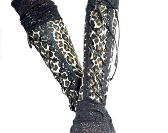 XX Long spandex leopard print fingerless gloves black lace cuffs / arm warmers