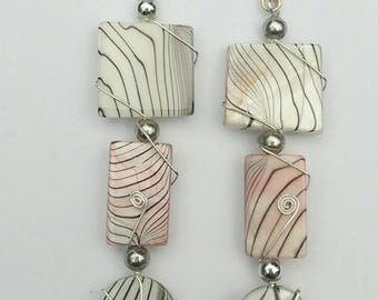Shell dangle earrings, pink and white