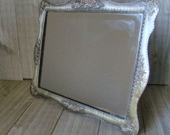 Ornate Framed Mirror,  Metal Framed Mirror, Silver Colored Frame,  8 X10 Mirror, 8 X 10 Frame, Easel Style Frame