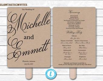 Wedding Fan Program Template, Kraft Wedding Program Template, Ceremony Wedding Program, Wedding Fan, Wedding Template, YOU EDIT, DIY, Kraft