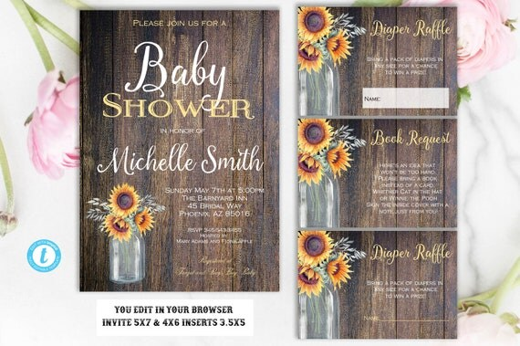 Sunflower baby shower invitation rustic baby shower invitation il570xn filmwisefo