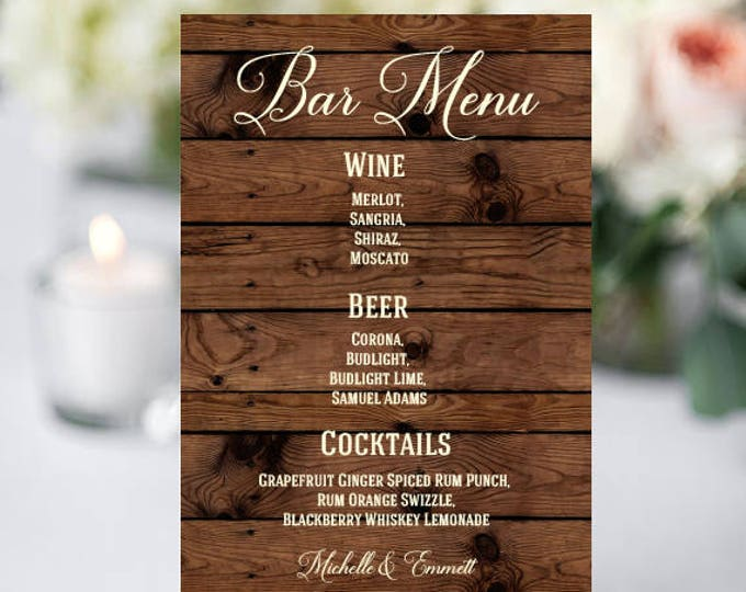 Wedding Bar Sign, Bar Menu Template, Bar Menu Sign, Printable Sign, DIY, Rustic Template, Rustic Bar Menu Sign, YOU EDIT, Template, Rustic