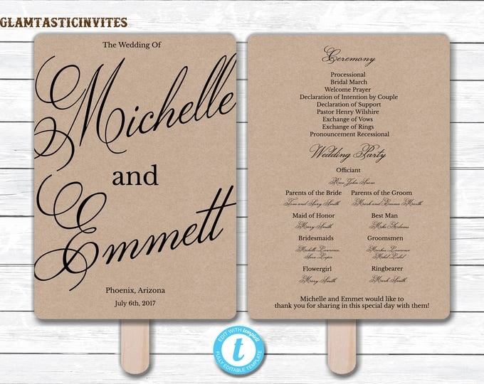 Wedding Fan Program Template, Kraft Wedding Program Template, Ceremony Wedding Program, Wedding Fan, Wedding Template, YOU EDIT, DIY, Kraft
