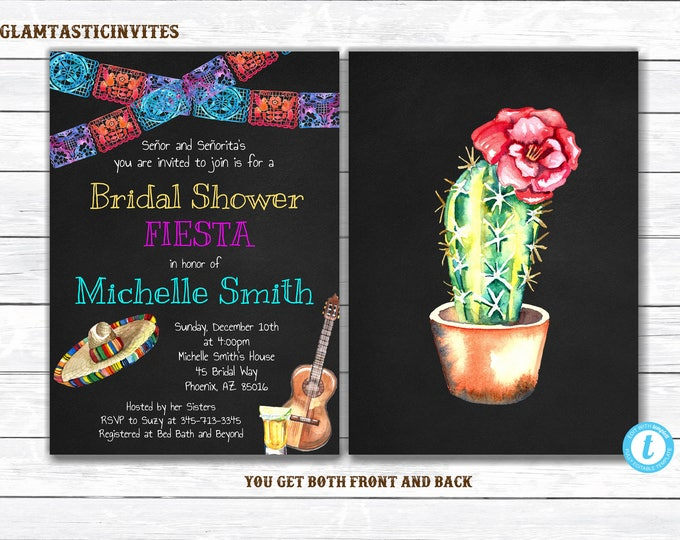 Fiesta Bridal Shower Invitation, Fiesta Invitation, Template, YOU EDIT, Bridal Shower Invitation, Mexican Theme Invitation, DIY, Printable