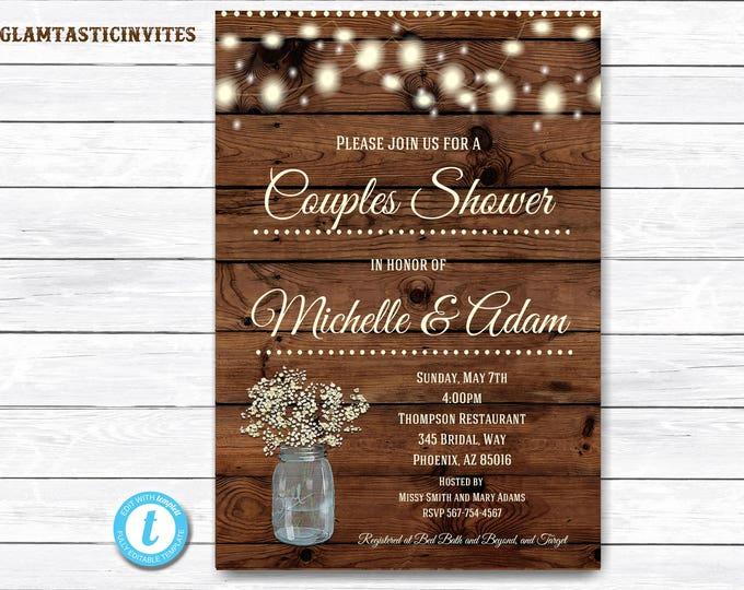 Rustic Couples Shower Invitation, Rustic Invitation, Mason Jar invitation, Flower Invitation, Couples Shower Invitation, Shower Template