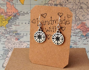 Silver Compass Earrings  - Adventure Jewelry, Steampunk Jewellery, Nautical, Travel, Explore, Outdoors, Hiking, Camping, Nature Lover, Map
