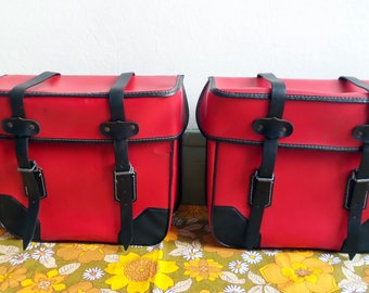 Red bike solex moped vintage cases / bags plastic leatherette / motorcycle / red baskets / faux leather bike collection