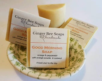 Good Morning Hand Made Soap, Invigorating peppermint + sweet orange, oatmeal soap, refreshing soap, palm oil free, unisex, vegan soap