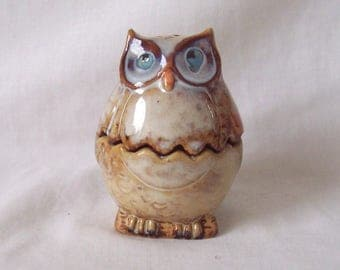 Owl Egg Cup - Two Piece with Separate Salt Cellar and Egg Cup c.1980