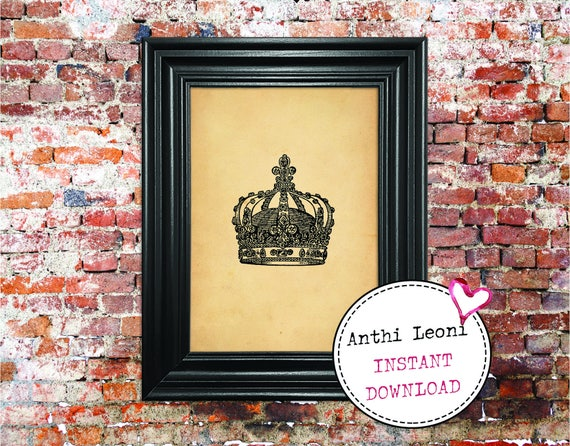 Antique Crown Instant download | Vintage Paper Monarch Headgear Print Design | Old Crown Book Illustration | Just Download and Print #0013