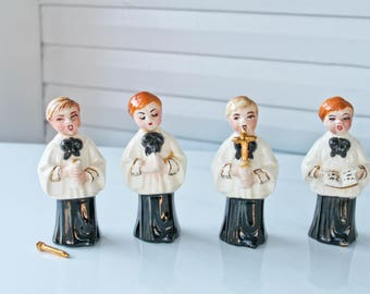 Vintage Hand Painted Porcelain Alter Boys Set of Figurines-Choir Boys-Religious-Praying-