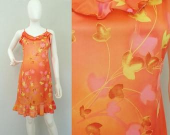 80s orange floral dress, ruffled spaghetti strap summer mini sun dress medium, Short Sun Dress, O/range Flowered Dress, Short Light Dress