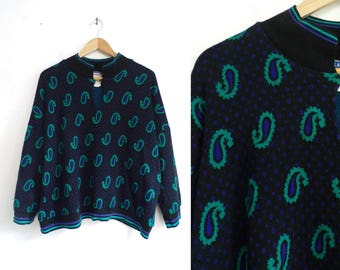 80s Paisley Sweater Polka Dot Sweater Black Teal Knit Acrylic Sweater Dolman Sleeves Band Collar Pullover Sweater Womens Jumper XL