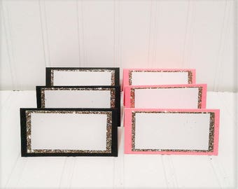 12 Glitter Food/Place Cards - You choose the colors!