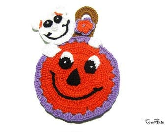 Halloween crochet potholder, Crochet Pumpkin and Ghost, Halloween Pumpkin, Halloween Ghost, Presina zucca