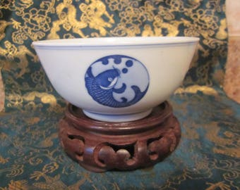 Chinese Export   Koi Fish  Bowl Hand Painted Details Blue White Antique Blue Lines on  Rim China Blue Mark
