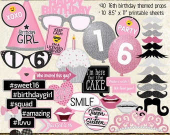 Photo Booth Props, HAPPY 16TH BIRTHDAY, party, pink, silver, sweet 16, printable sheets, instant download, selfie station