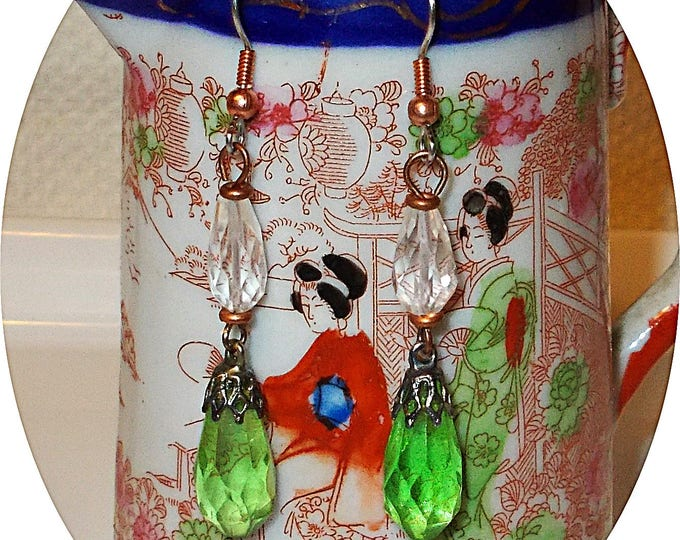 Vintage Art Deco Chandelier Flapper Style Clear Green Cut Glass Bead Boho Hippie Chic Handmade Drop Dangle Earrings