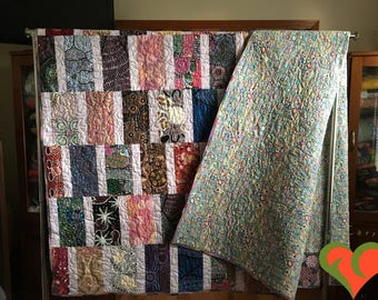 Australian Aboriginal Pristine Quilt-Comfort Quilt-Throw Quilt-Twin Bed Quilt-ModernQuilt. Handmade One of A Kind Quilt.
