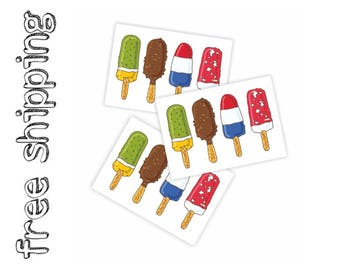 Set of 3 temporary tattoos «More ice». Summer kids body stickers with ice cream lollys. Playdate and party bag supply. TT228